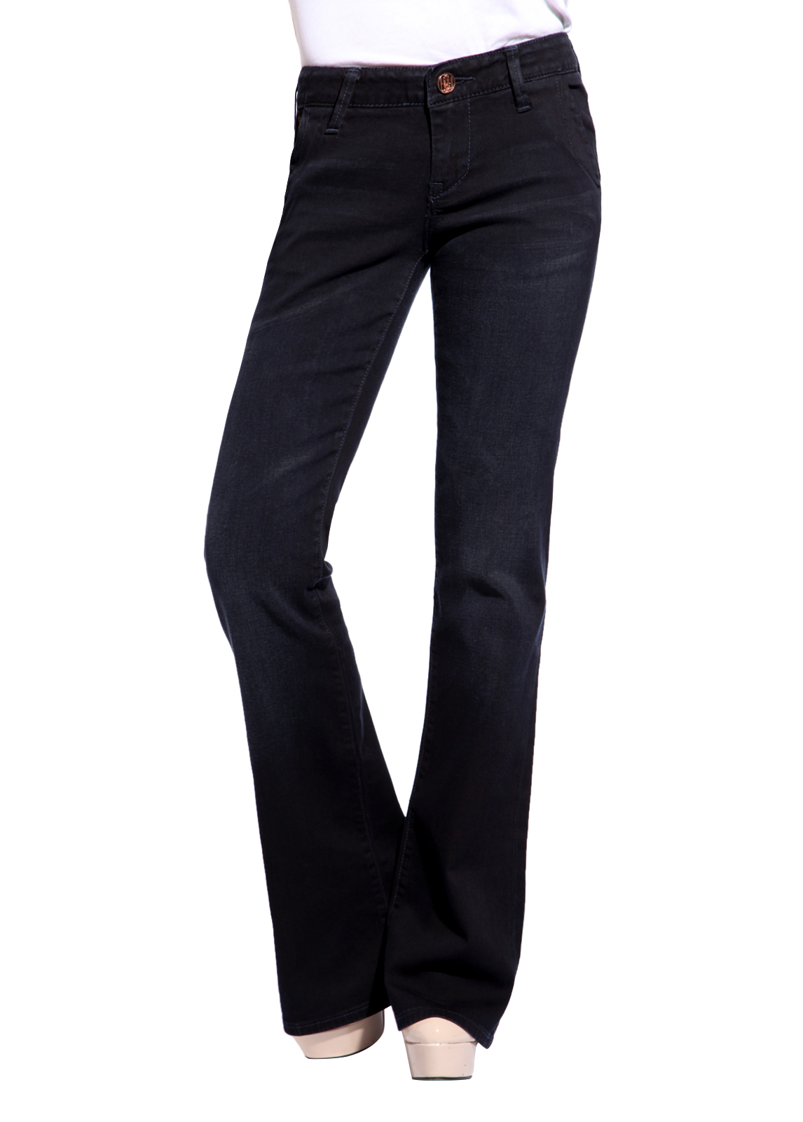 Women Black Denim Bootleg Pants Low Waisted Trousers ...