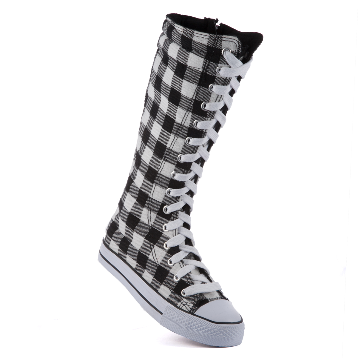 knee high canvas boots womens casual sneakers lace