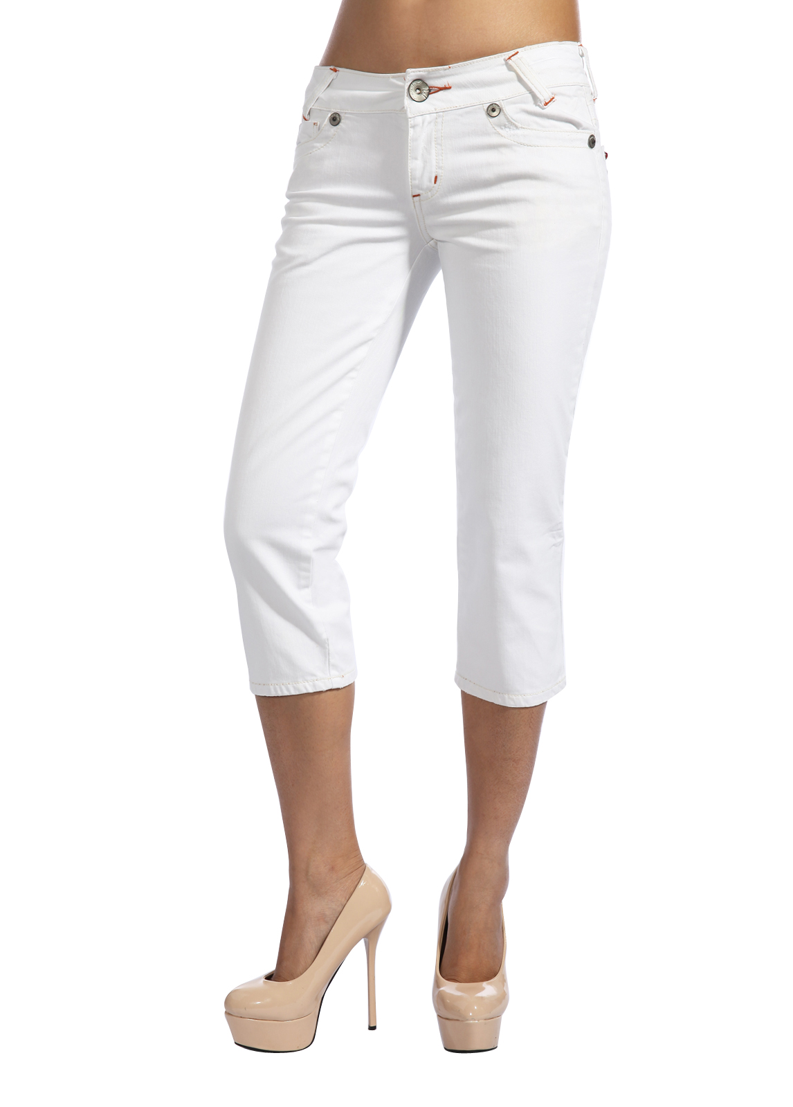 Marlow Womens Cropped Capri Jeans Low Rise 3/4 Shorts White Blue ...