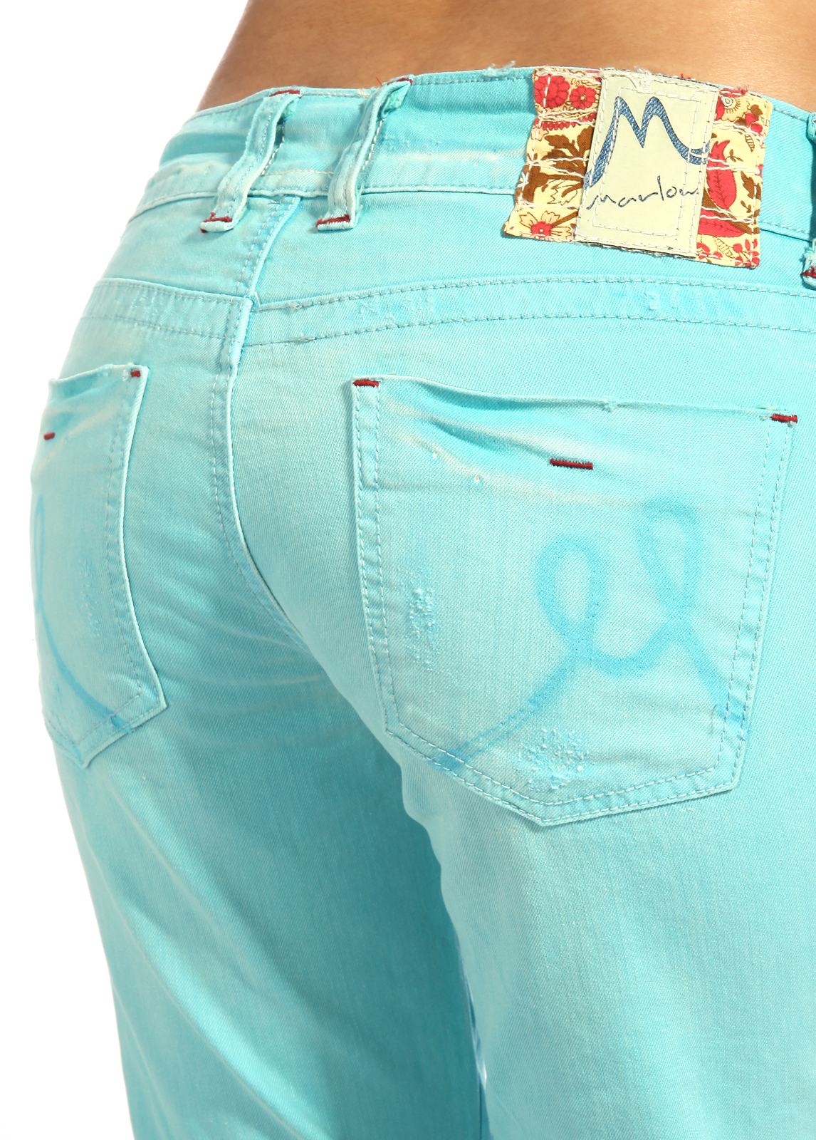 Marlow Womens Color Denim Bootcut Jeans Turquoise Low Waist Pants ...