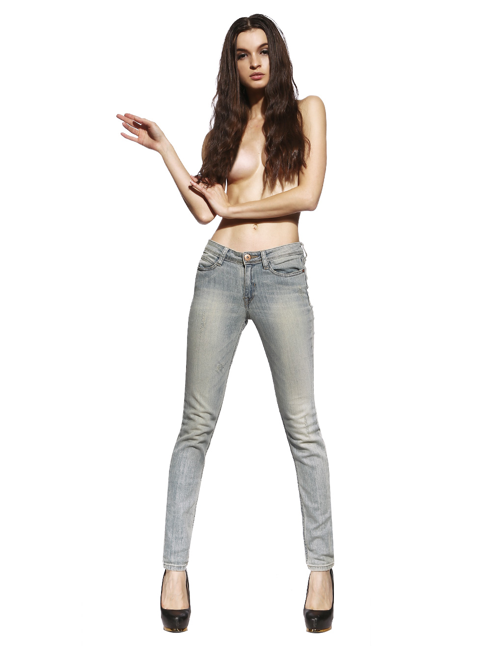 Anladia Womens Light Blue Washed Denim Slim Fit Jeans Skinny Sexy ...