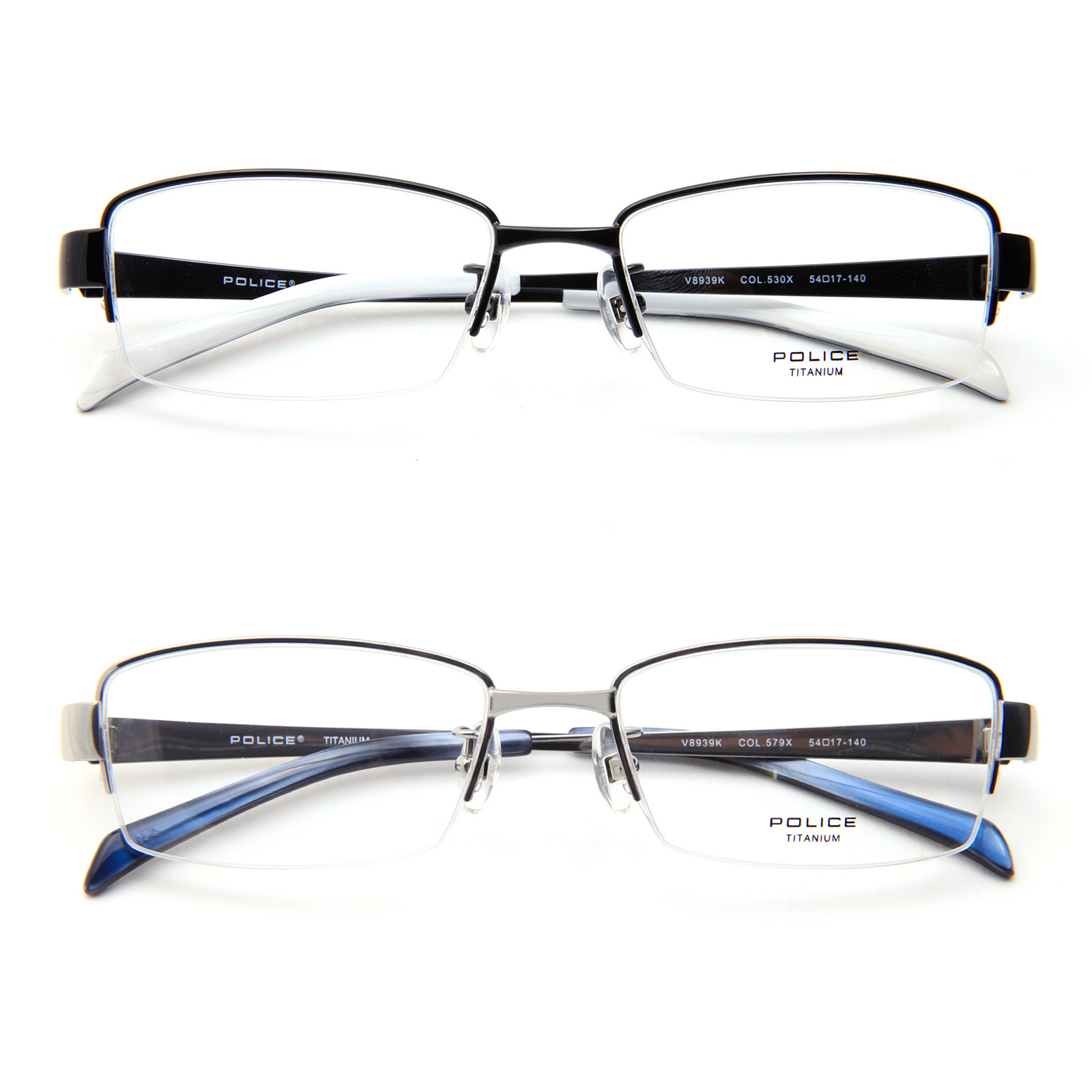 Police Retro Mens V8939k Glasses Reading Semi Rimless